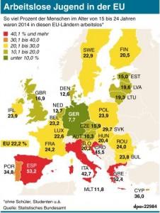 Millionen Jugendliche in der Europäischen Union suchen Arbeit oder einen Nebenjob. Besonders dramatisch ist die Lage in Spanien und Griechenland. Deutschland steht vergleichsweise gut da. Grafik: dpa/J. Reschke, Redaktion: S. Tanke