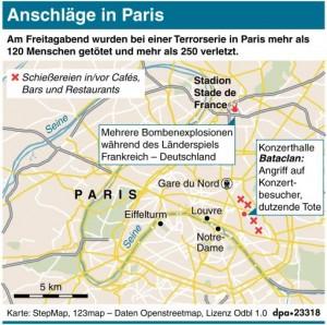 Karte zu den Anschlägen in Paris. Redaktion: dpa/K. Klink; Grafik: Bökelmann
