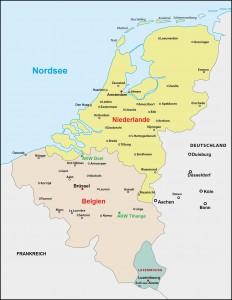 Unsicherheitsfaktor: Die belgischen AKW-Standorte Tihange und Doel. Karte: Fotolia/Lesniewski; Bearbeitung: avd
