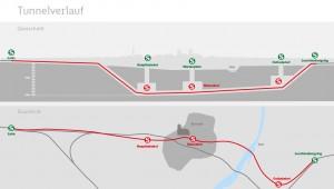 Der geplante Streckenverlauf, rot die Zweite Stammstrecke, grün die bestehende Stammstrecke. (Bild: Deutsche Bahn AG/Fritz Stoiber Productions GmbH)