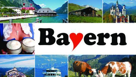 Ein Herz für den Freistaat: Multi-Karte á la Bavarese. Karte: Schöning Verlag