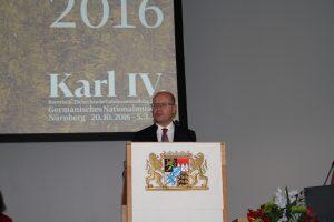 Der tschechische Ministerpräsident Bohuslav Sobotka (CSSD) bei der Eröffnung der Bayerisch-Tschechischen Landesausstellung zu Kaiser Karl IV. in Nürnberg. (Foto: Wolfram Göll)