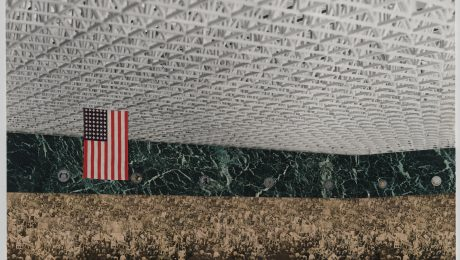"Unter dem Sternenbanner: Mies van der Rohes Collage ""Convention Hall. Chicago, Illinois, 1952-54"". (Bild: Museum of Modern Art, New York/VG Bild-Kunst)"