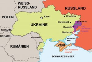 Erneut gibt es Kämpfe in der Ostukraine. (Karte: Fotolia/Peteri; bearb.: avd)