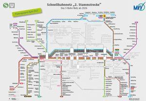 Plan der neuen Stammstrecke. (Bild: MVV)