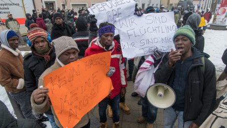 Protest im Transitzentrum